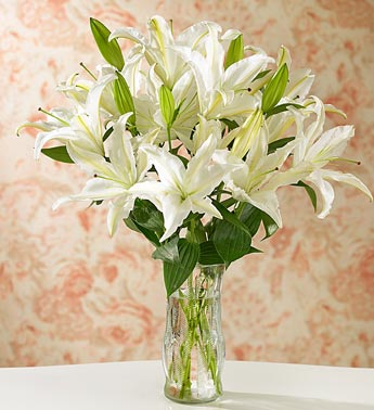 send lilies in Vase to