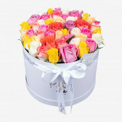 send mix color roses in bucket to chengdu