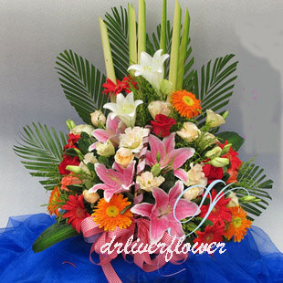 send flowerBasketshanghai to china