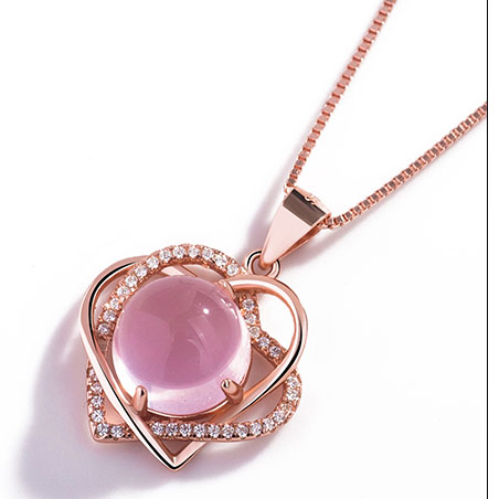 send pink crystal Necklace to china